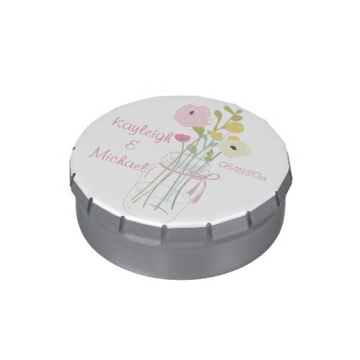 Rustic Posh in Pink   These adorable filled candy tins make the perfect wedding favors for your guests! Featuring a rustic, whimsical mason jar filled with flowers and tied with a ribbon then personalized with the names of the bride and groom along with your wedding date. They are filled with your choice of jelly belly jelly beans or mints and come in different sizes and shapes. Bulk prices with as few as 10 ordered!