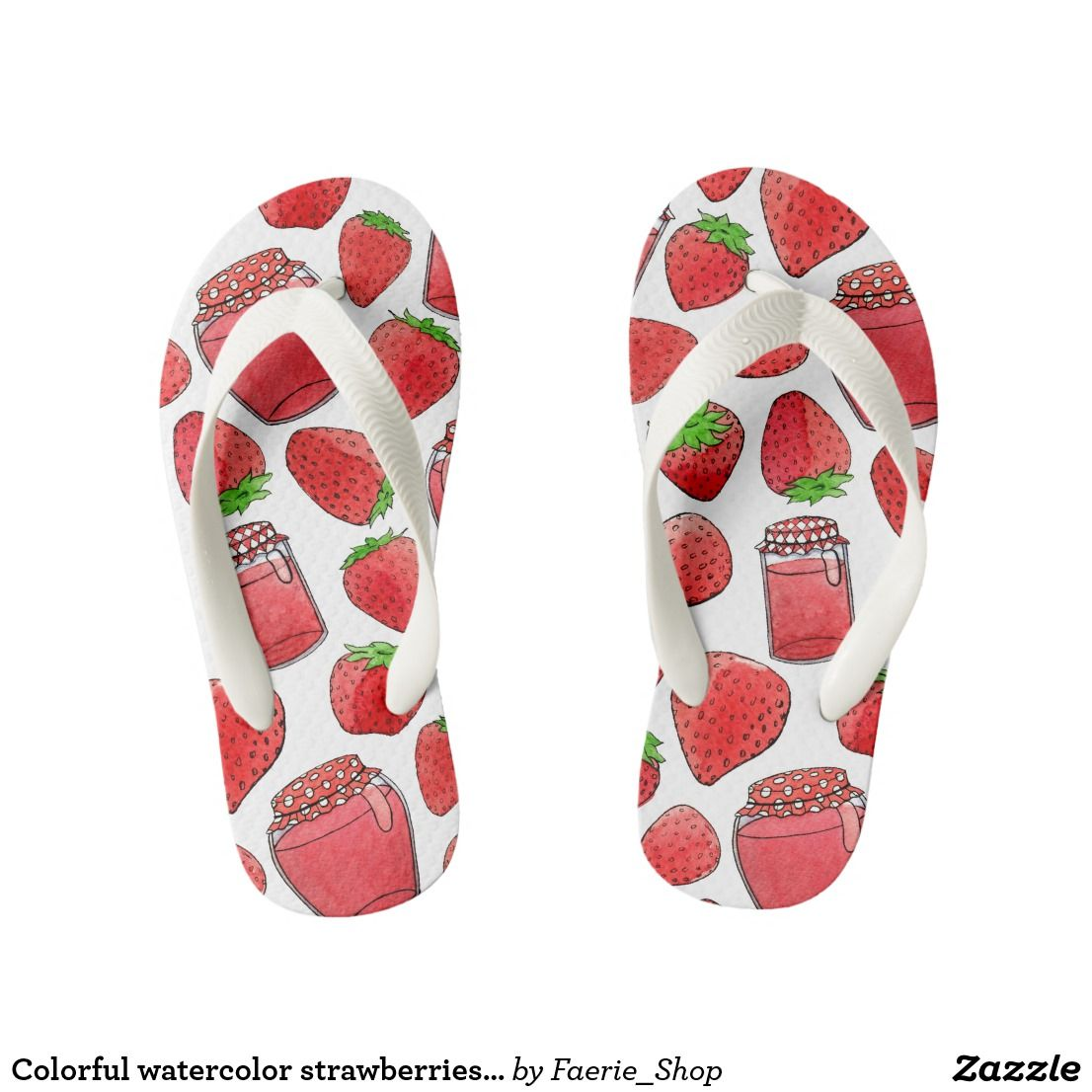 bd61ea7701525d Colorful watercolor strawberries   jams kid s flip flops  watercolor   watercolour  strawberry  jam  sketch  pattern  red  ink  accessories  zazzle  ...