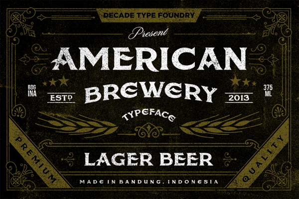 American Brewery Font by Decade Typefoundry, via Behance