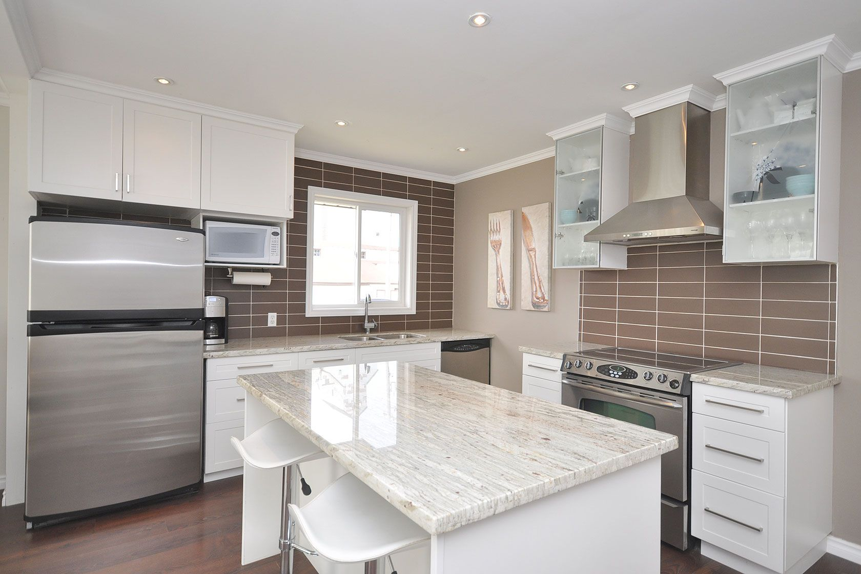 Pin By Lindsay Mcdonald Dickson On Sanford Before After White Cabinets White Countertops White Granite Countertops White Kitchen Remodeling