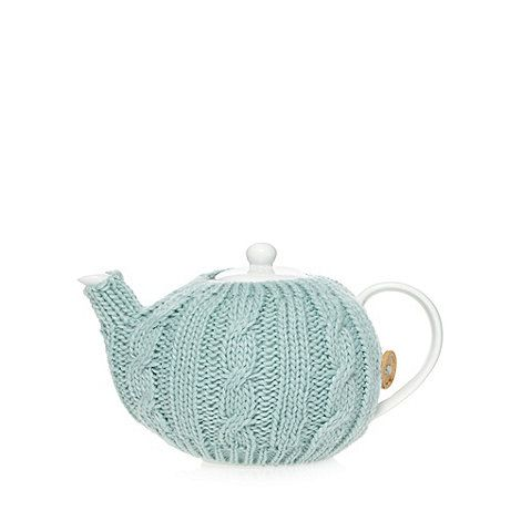 At home with Ashley Thomas Porcelain knitted cosy teapot- at Debenhams Mobile - Sage green or cream.