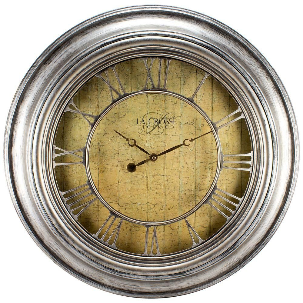 24 in. H Round Silver Weathered Analog Wall Clock with Cut-Out ...