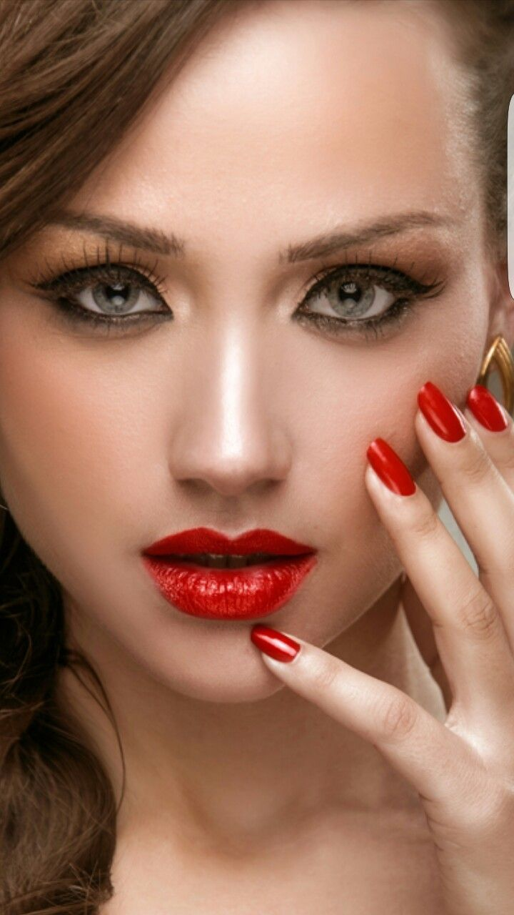 Red Lips And Nails Dark Red Lips Red Lips Eye Nail Art