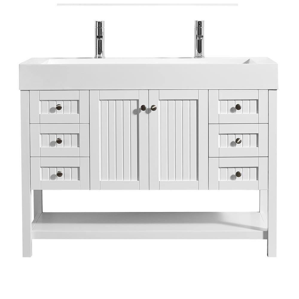 Roswell Pavia 48 In W X 20 In D Vanity In White With Acrylic