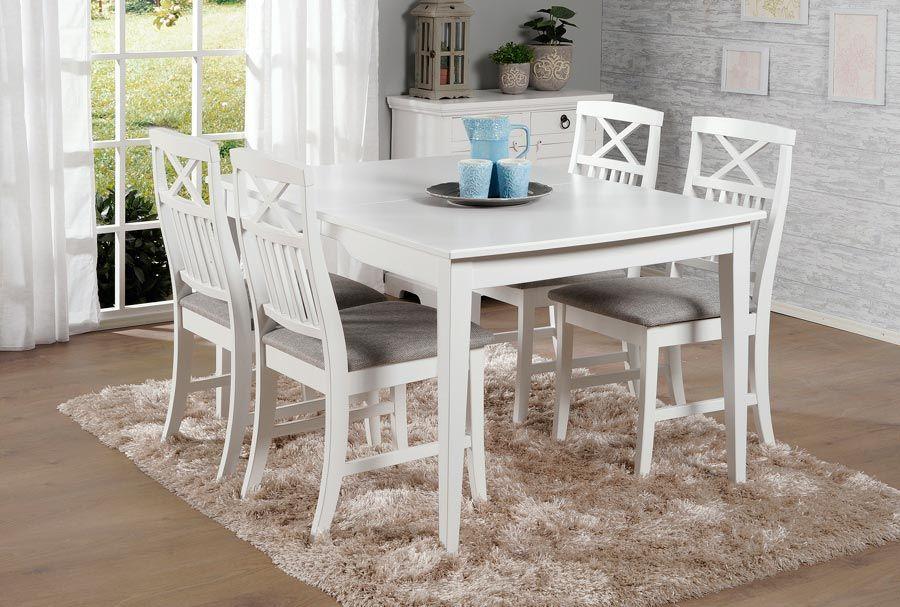 NELLA-ruokailuryhmä valkoinen (pöytä 130x90+45cm ja 6 tuolia) - Ruokailuryhmät ja pöydät | Sotka.fi