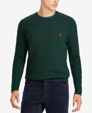 05941358e Polo Ralph Lauren Men s Cashmere Wool Blend Cable-Knit Sweater - College  Green XXL