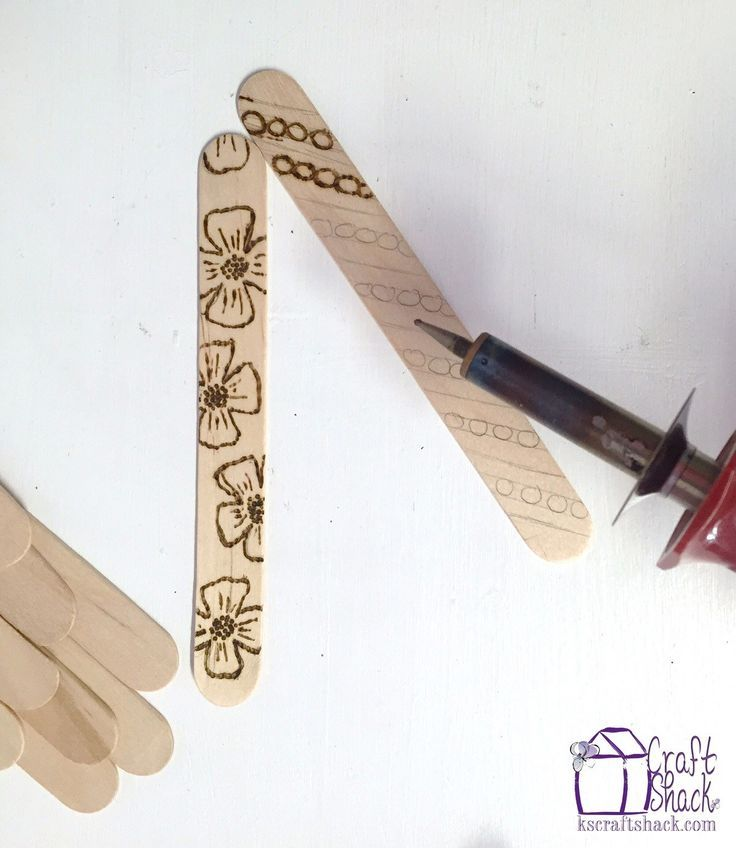 Craft Stick bookmarks with Wood burned designs