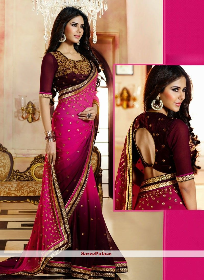 7d512ebe2a590 Magenta And Wine Faux Georgette Saree