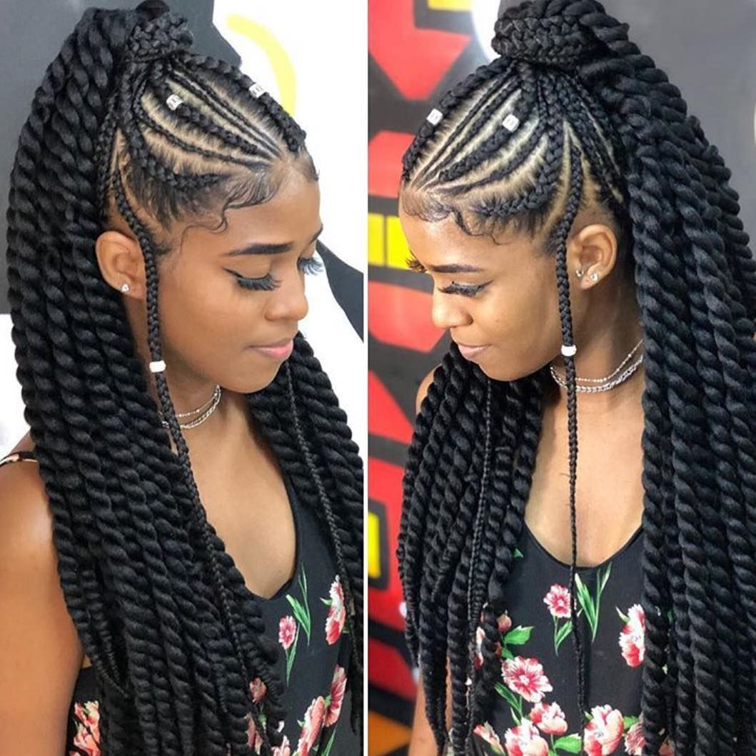 Oving The Braid And Twist Combination Manuucabelo Braided Cornrow Hairstyles Cornrow Hairstyles Girls Hairstyles Braids