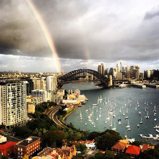 """It's (almost) a double rainbow! Look at #sydney just doing its thing  Big thanks to @dillanjoseph for the pic # #☁️ #sydneylocal #wow #doublerainbow"""