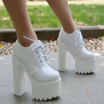 Lace-up PU Chunky Heel Platform Super High Heels Ankle Boots G-2988 from Eoooh❣❣