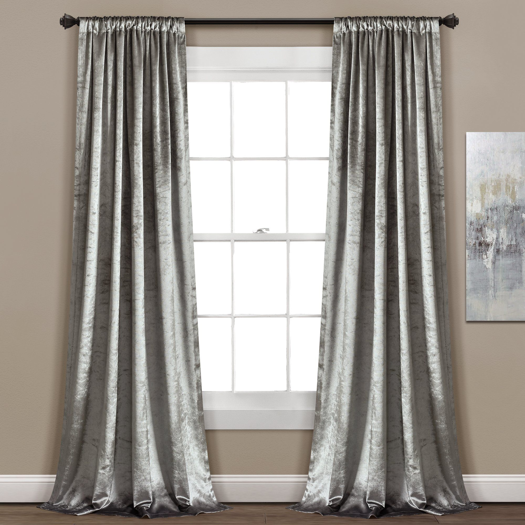 Night Sky Window Curtain Panel Grey Velvet Curtains Velvet Curtains Lush Decor