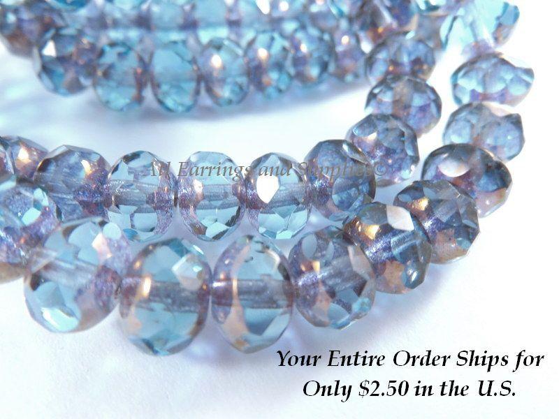 Aqua Picasso Czech Rondelle Glass beads Pink 25 8x6mm Opal Mix Blue