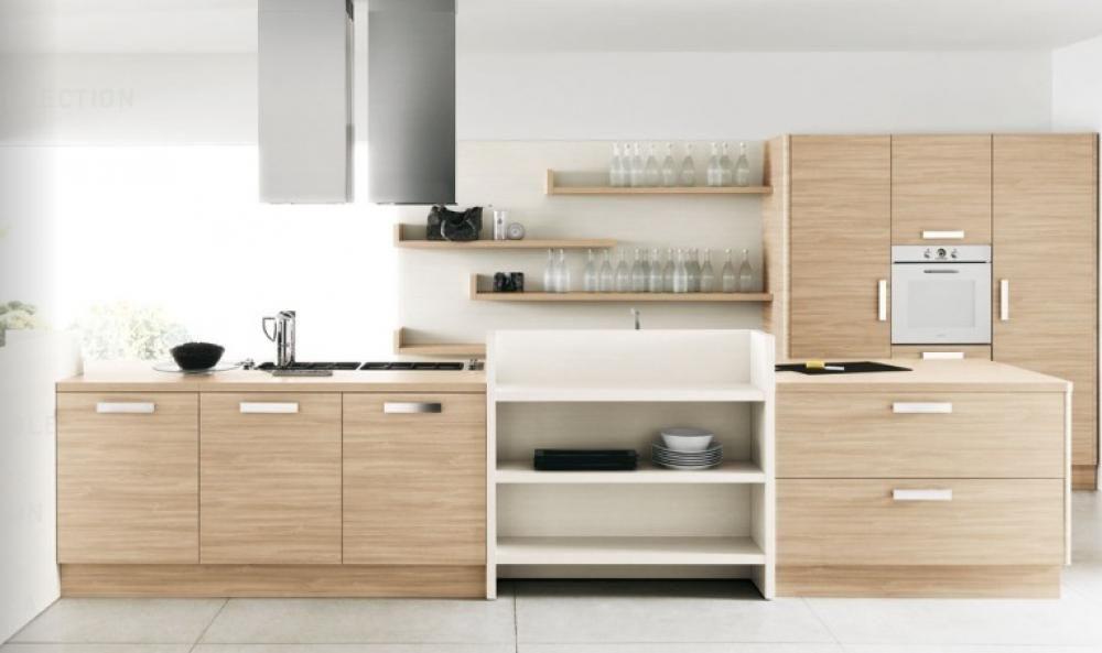 light wood cream kitchen cabinet design feat white kitchen wall ...