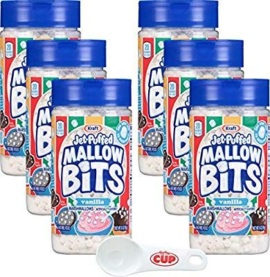 Amazon.com : Kraft Jet-Puffed Mallow Bits Vanilla Flavor Marshmallows 3 Ounce (Pack of 6) with By The Cup Portion Scoop : Grocery & Gourmet Food #flavoredmarshmallows