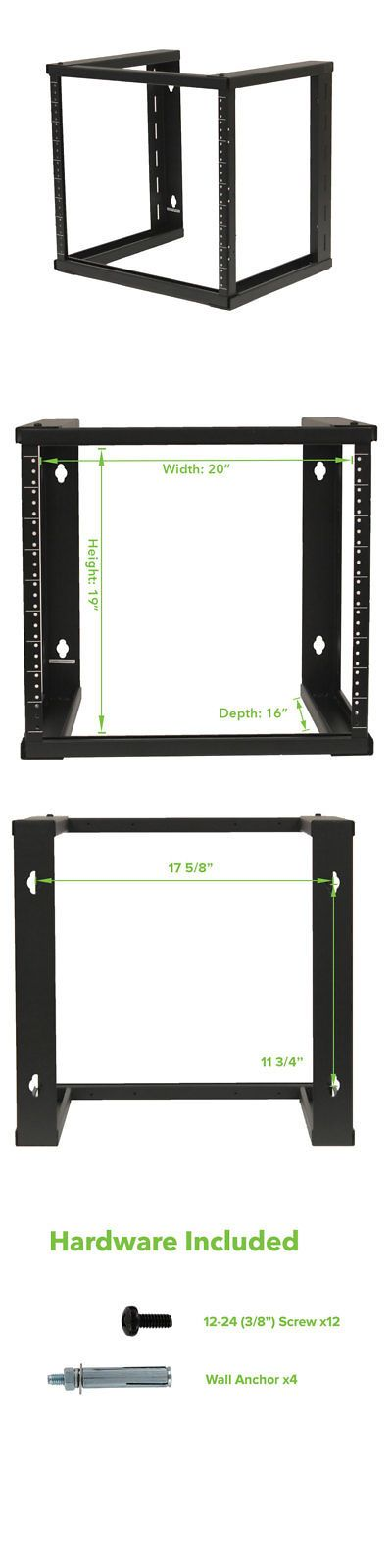 Rackmount Cabinets And Frames 51199 9u Wall Mount Open Frame 19 Server Equipment Rack Threaded 16 Inch Depth Black Buy It Now O Open Frame Frame Wall Mount