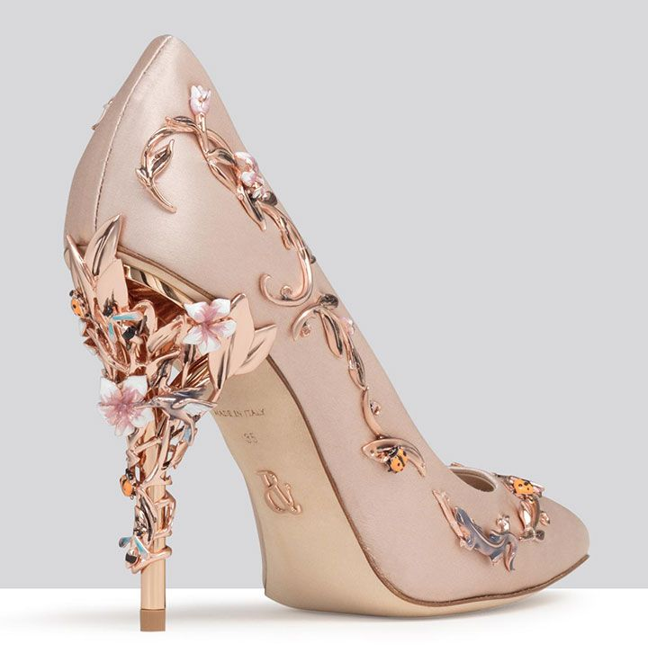 Pink Wedding Shoes With Rose Gold Heels ~ Eden Eve Pump in pink satin 4786b45f4f96