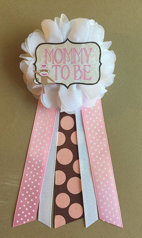 girl sock monkey baby shower mommy to be flower ribbon by afalasca
