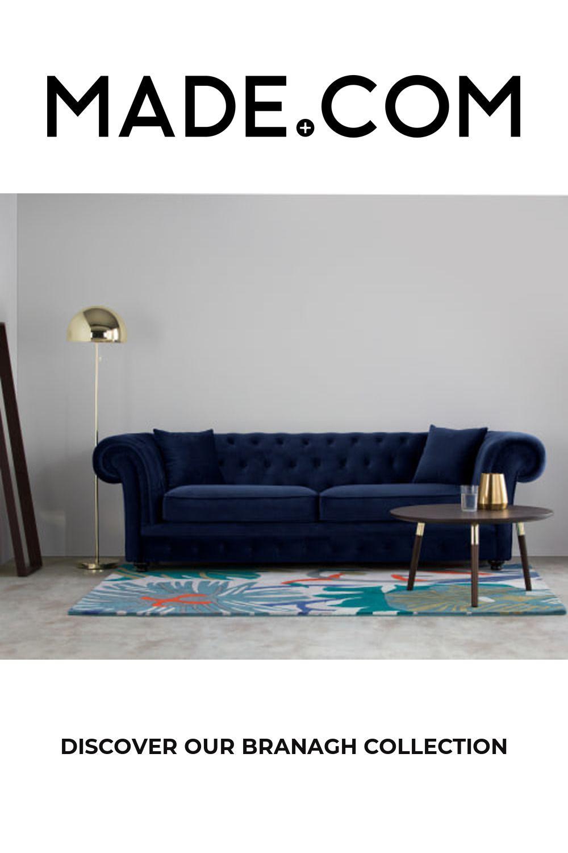 Branagh 3 Seater Chesterfield Sofa Electric Blue Velvet Chesterfield Sofa Chesterfield Sofa Living Room Blue Velvet Sofa