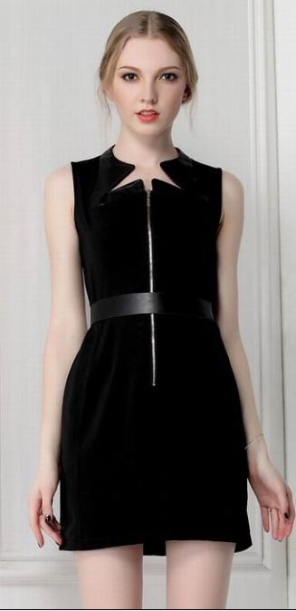 Zipper Sleeveless Dress    dresslily.com
