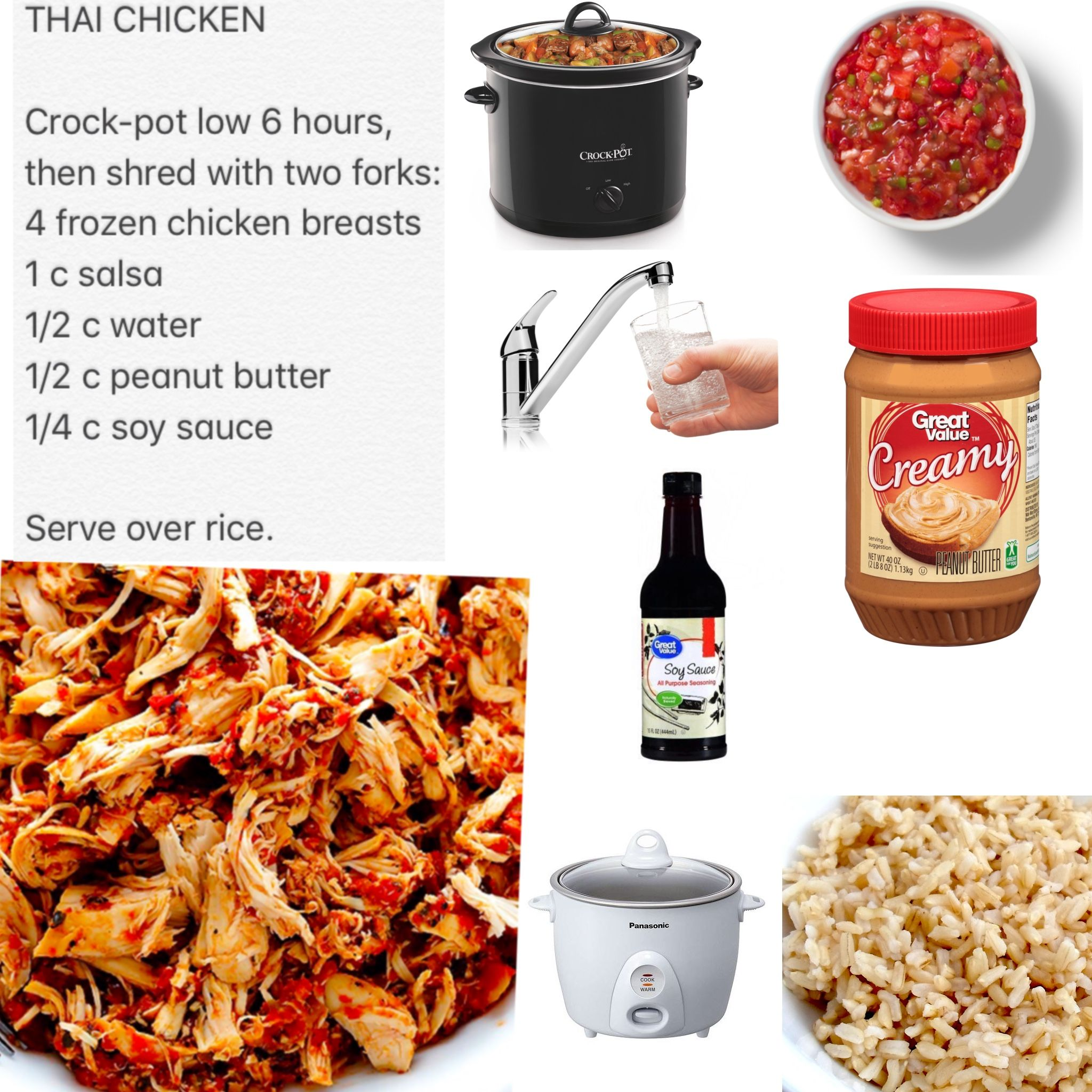 Thai chicken: Crock-pot low 6 hours, then shred with two forks: 4 ...