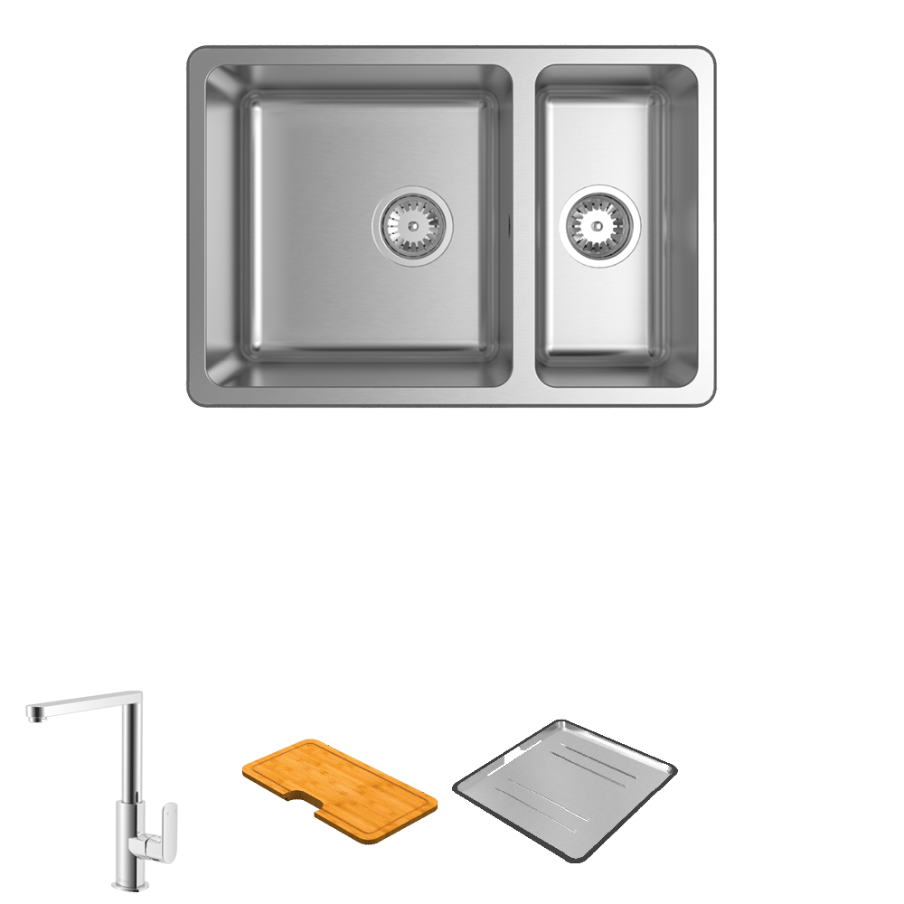 Abey Abey Packages Lago 180 Square Neck Mixer Package Image Sink Kitchen Mixer Double Bowl Sink