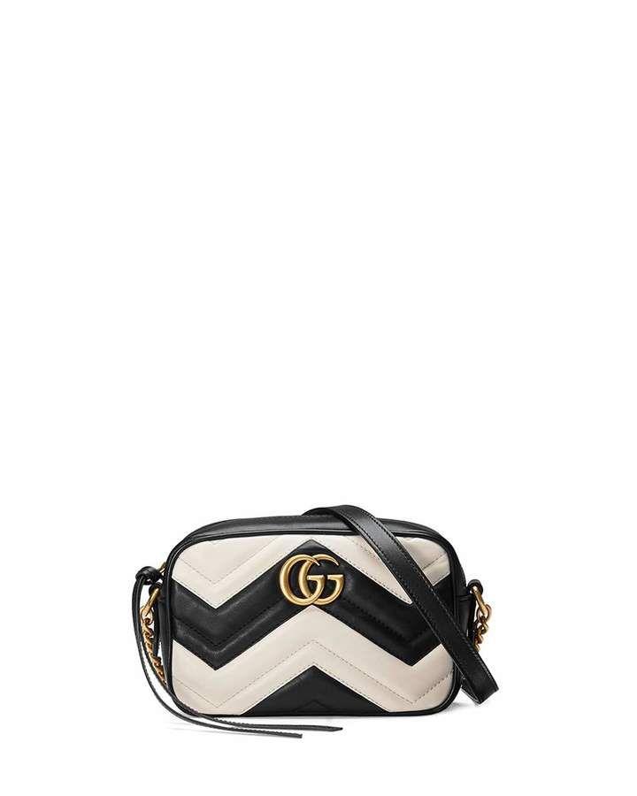 f5e65d0d8f1 Gucci GG Marmont Shoulder Matelasse Small Black White