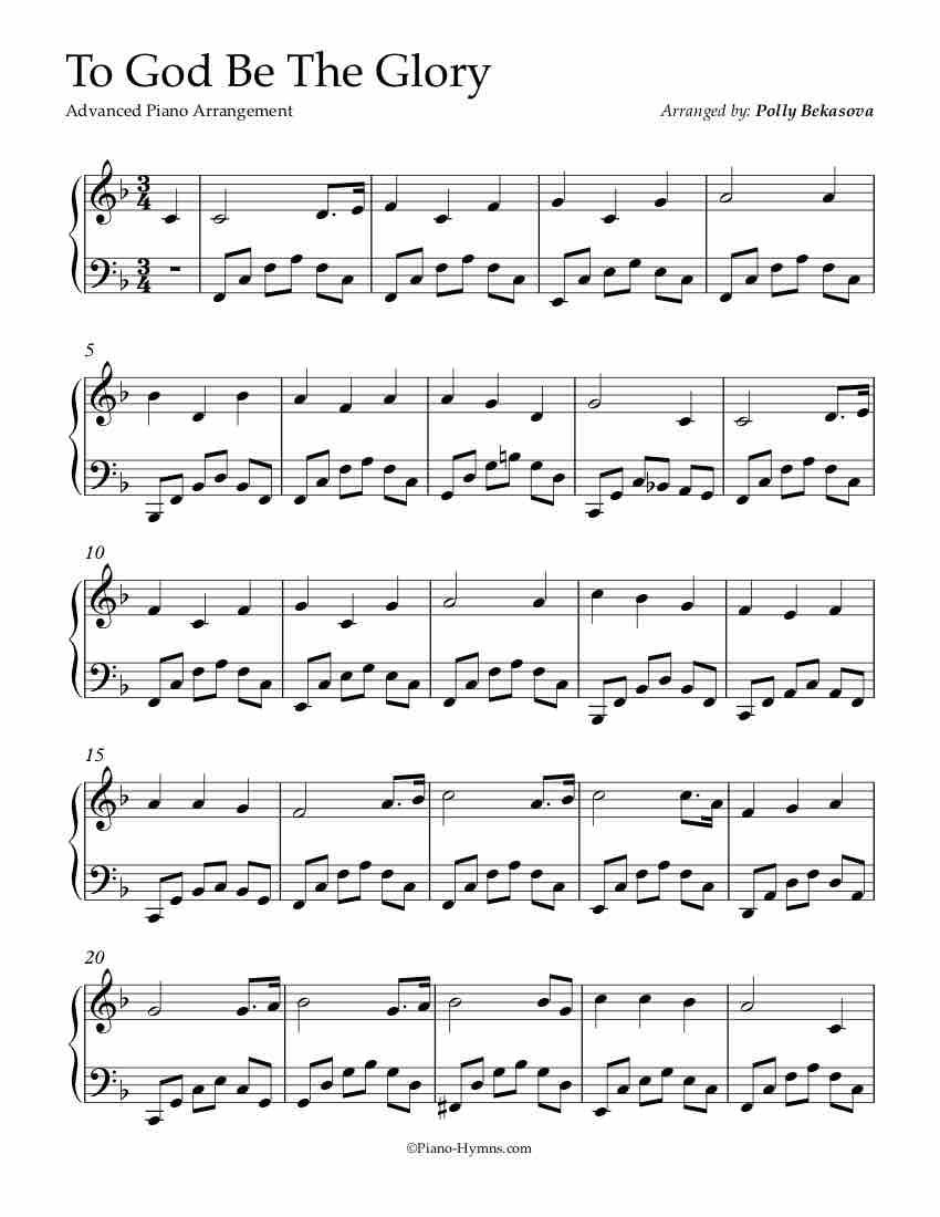 Free Piano Arrangement To God Be The Glory Advanced With