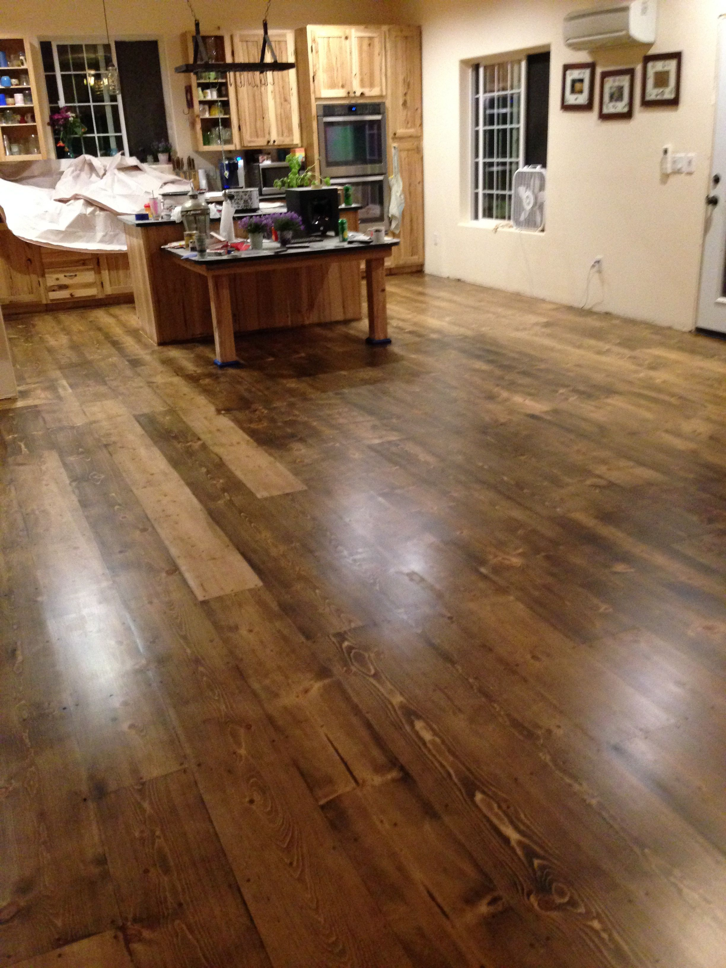 Pine Plank Floors After Hand Rubbed Dark Stain And 2