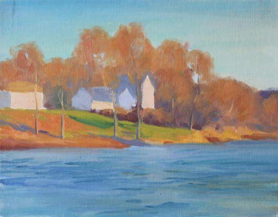 Impressionist Landscape Painting 11x14 Subtle Fall Landscape Blue