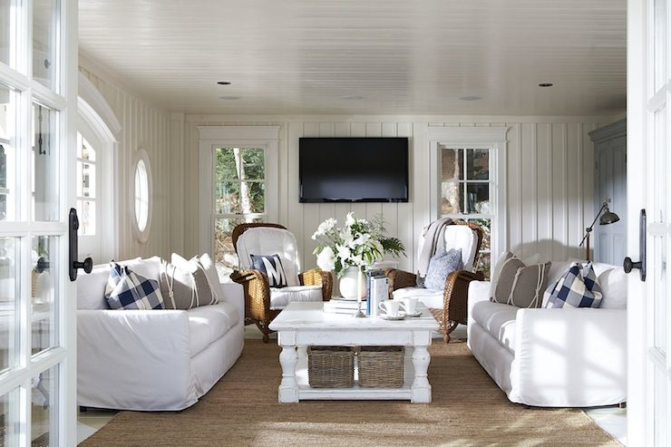 White Couch Living Room With Jute Rug Adore Cottage Living