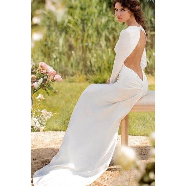 3d9cd13bacd0 Vintage Long Sleeves Round Collar Satin Backless Wedding Dress - Star Bridal  Apparel, #vintage, #sexy, #perfect, #quiet, #elegant, #temperament, #wedding,  ...