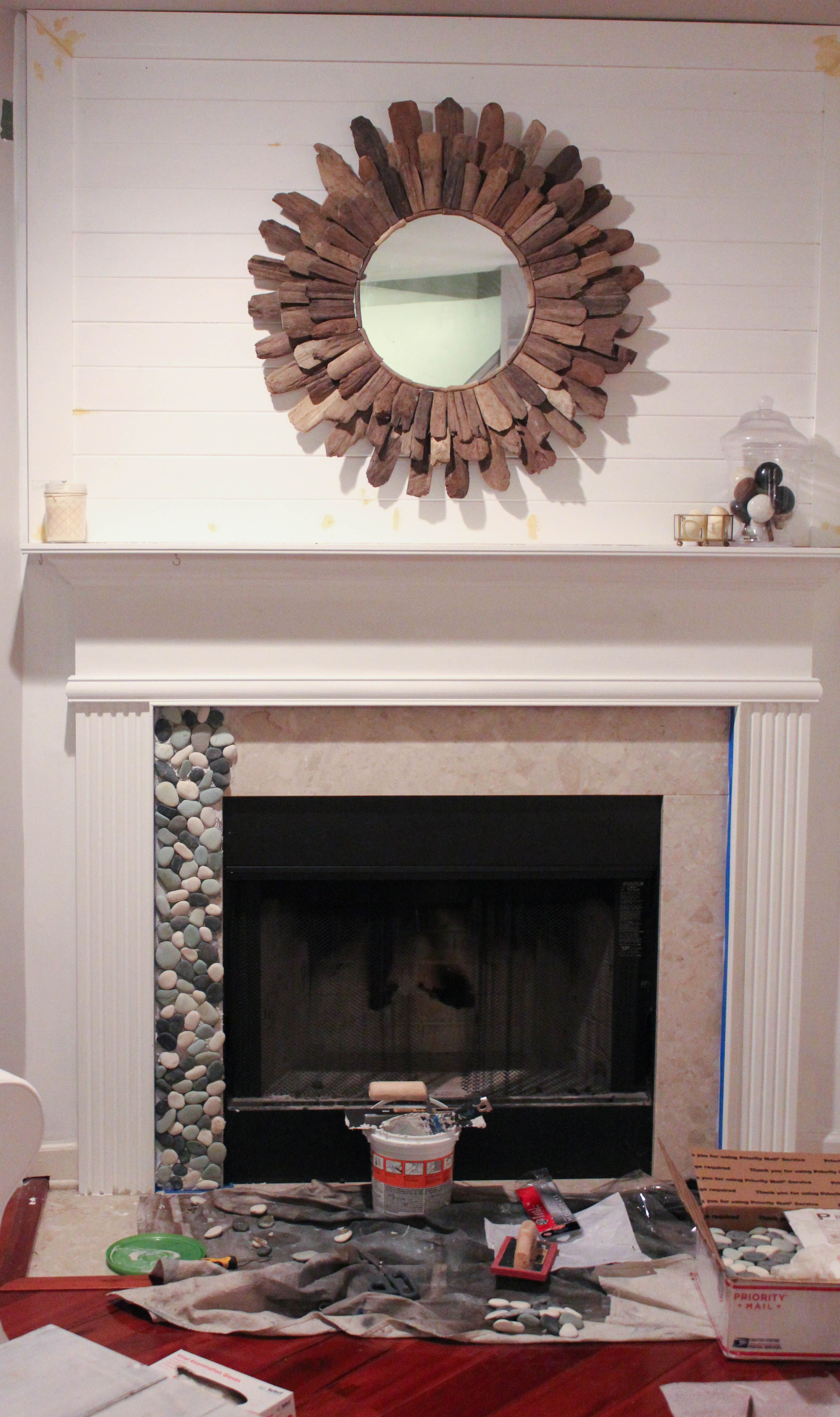 Installing Pebble Tile In Your BuilderBasic Fireplace