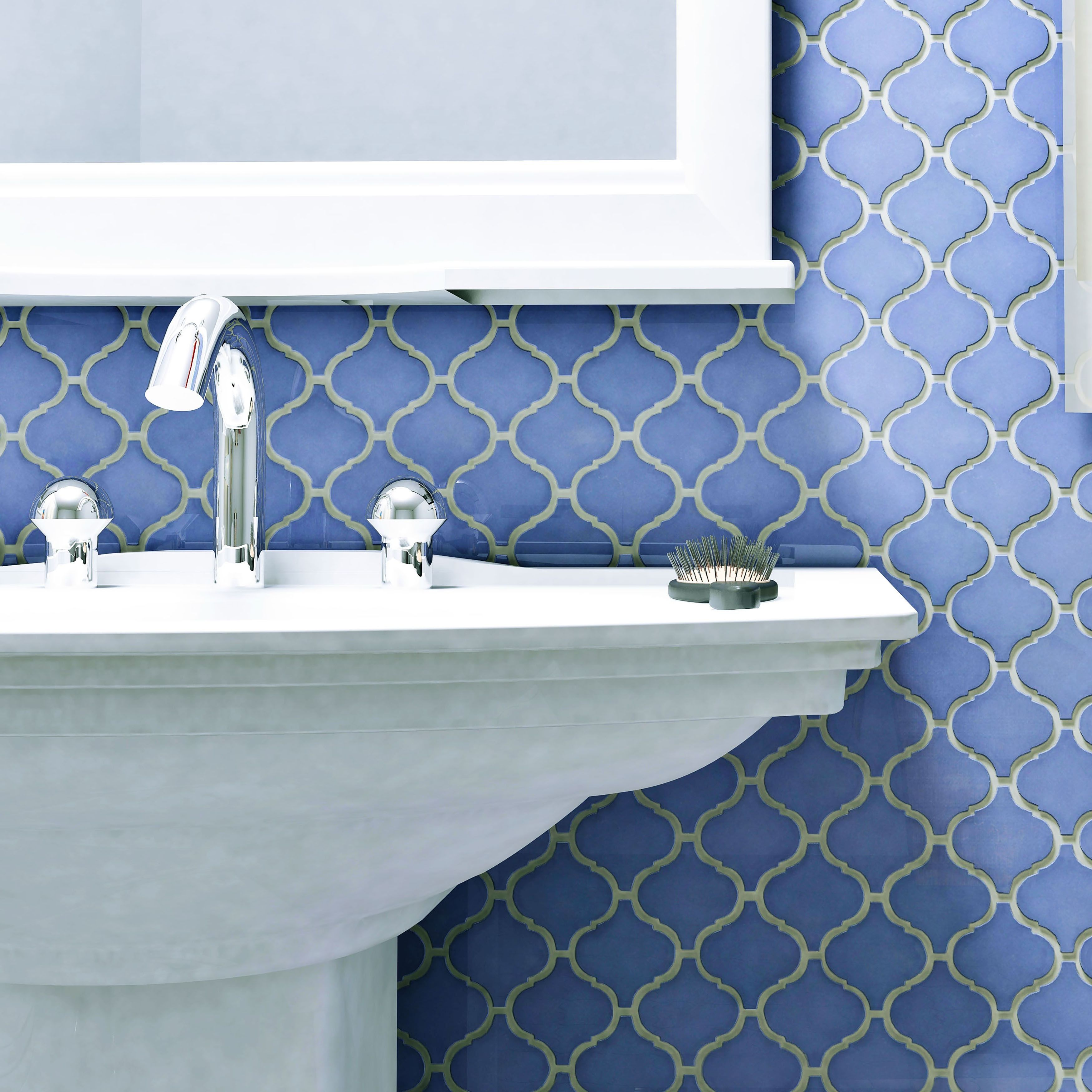 SomerTile 9.75x10.75-inch Victorian Morocco Glossy Blue Porcelain ...