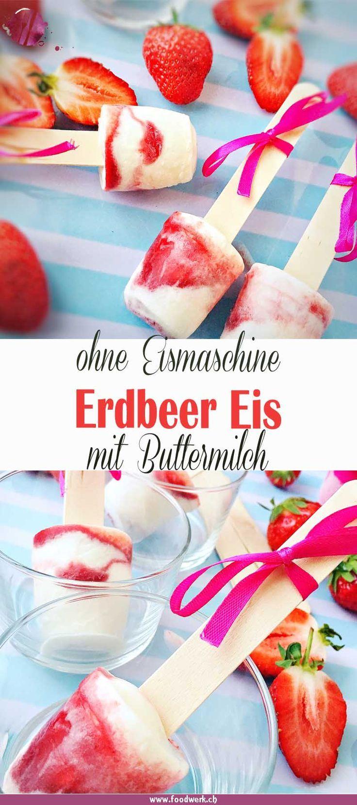 Eis gehört im Sommer einfach dazu. Ideal ist, wenn das Eis am Stiel daherkommt und du weisst was drin ist. Das Erdbeer-Eis mit Buttermilch ist ohne Eismaschine ruck zuck zubereitet und erfreut alle Schleckmäuler. Die Form kannst du selbst wählen und natürlich auch der Geschmack. Egal ob Erdbeere, Himbeere, Pfirsich oder was auch immer du magst. Das Eis ist im Gefrierfach griffbereit und versüsst dir die heissen Tage. Eine willkommene Erfrischung im Sommer #Eis #Beeren #Sommer #selbstgemacht