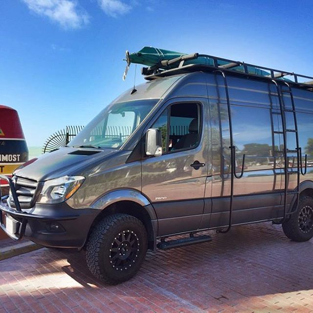 American Van Works Sprinter 4x4 Build Outfitted With Aluminess Gear Aluminess Roofrack Ladder Su Sprinter Van Mercedes Sprinter Camper Sprinter Camper