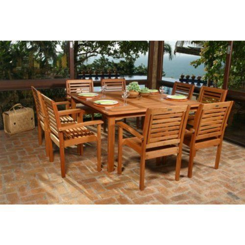 Milano Square Eucalyptus Dining Set Seats 8 By International Home Miami 1862 99 Large Square Tabl Patio Dining Set Wood Patio Furniture Outdoor Dining Set