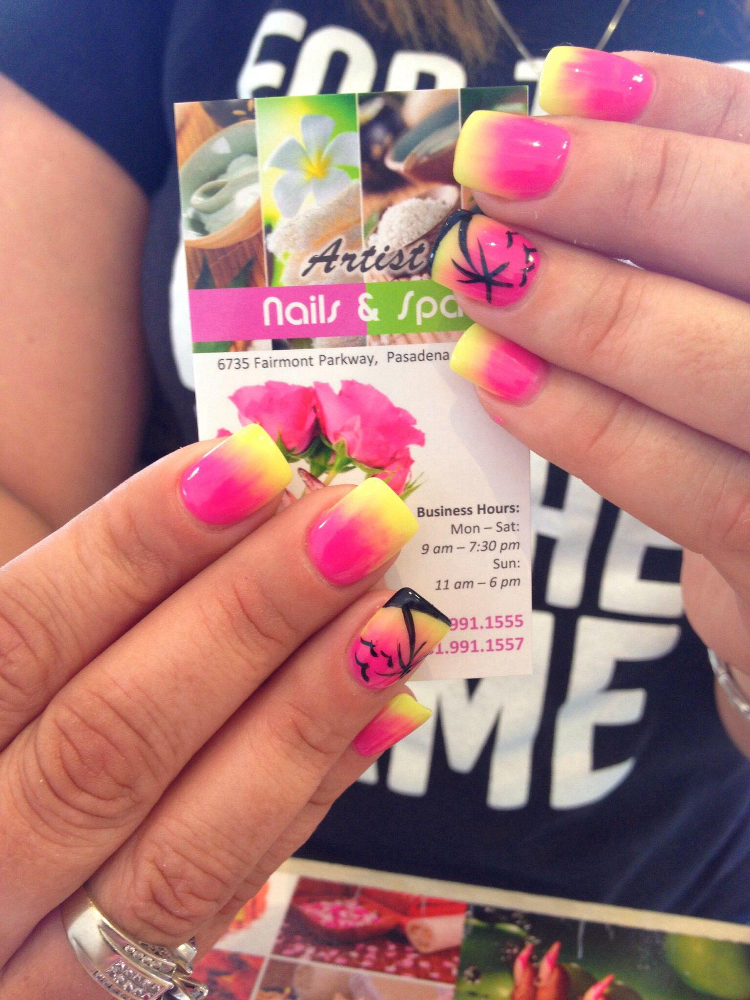 Pink And Lime Green Ombr Nails With A Palm Trees