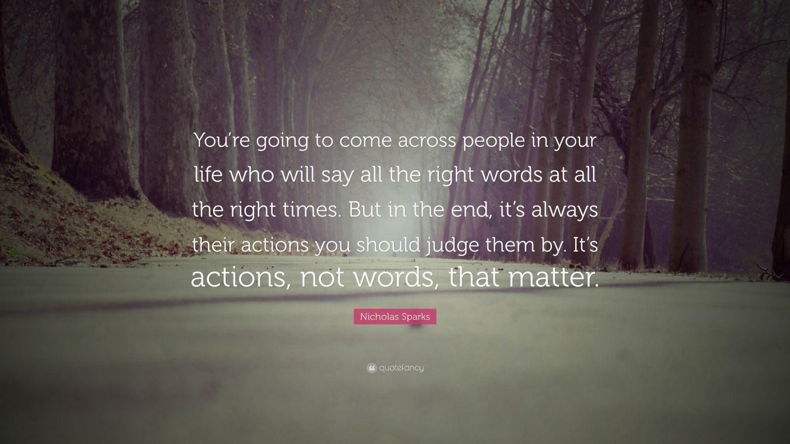 "Nicholas Sparks Quote: ""You're going to come across people in your life who will say all the right words at all the right times. But in the end, it's always their actions you should judge them by. It's actions, not words, that matter."""