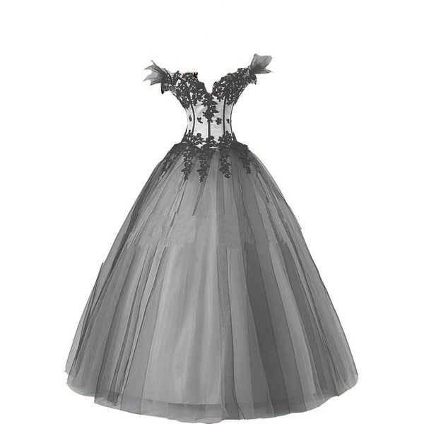 Kivary Women\'s White and Black Gothic Wedding Dresses Ball Gown ...