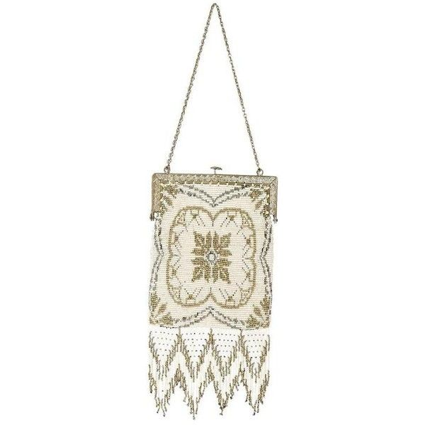 Preowned Ivory Whiting & Davis Vintage Beaded Clutch ($250) ❤ liked on Polyvore featuring bags, handbags, clutches, white, fringe clutches, vintage beaded purse, white beaded purse, fringe purse and 1920s purse