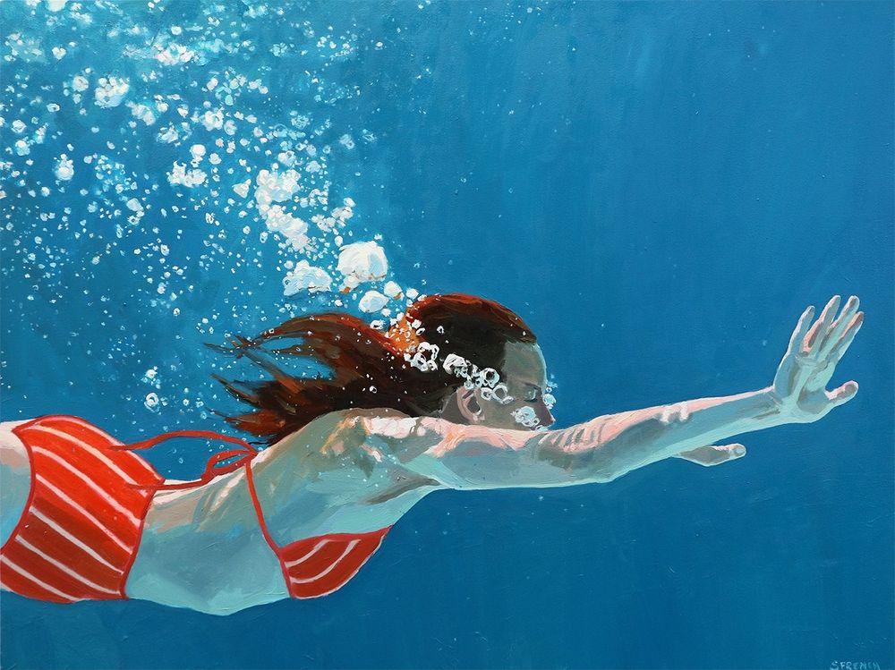 underwater painting people swimming - 1000×749