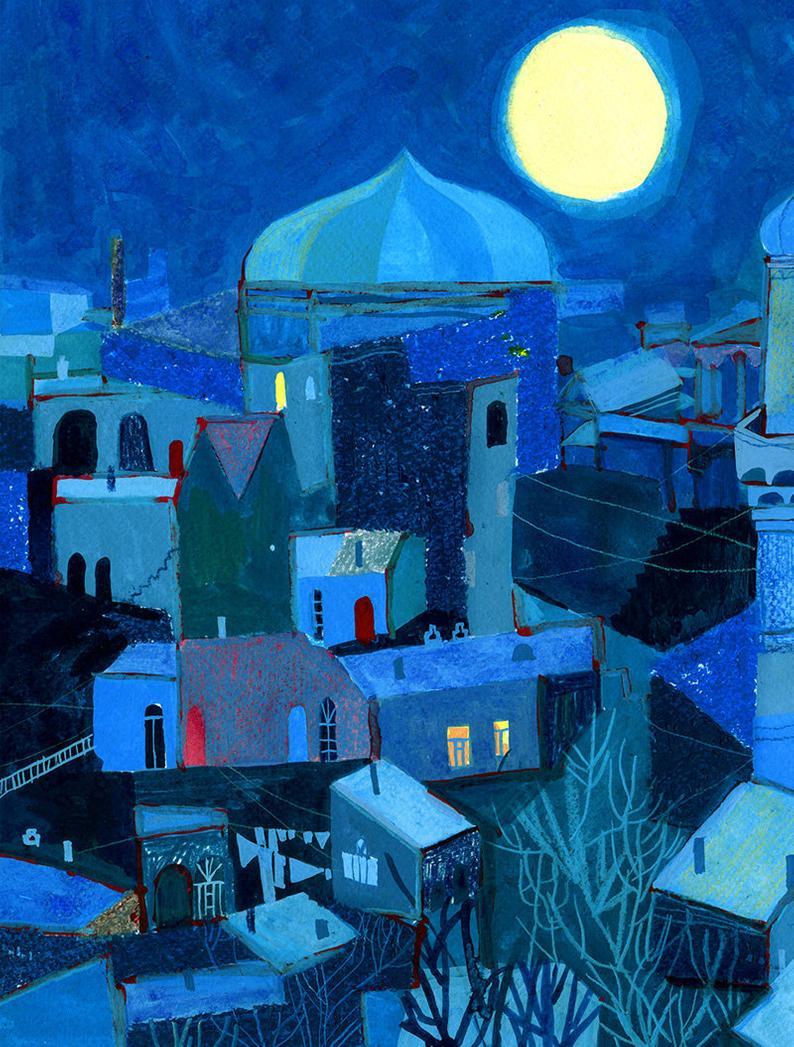 Moonlight Night In Baku Moonlight Landscape Print Night Art Etsy Night Art Landscape Prints Night Illustration