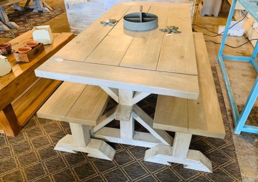 7ft rustic pedestal farmhouse table set with benches and