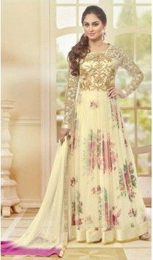 c987b3e152 Net Fabric Long Anarkali Churidar Suit in Cream Color | FH520178971 # heenastyle , #boutique , #pakistani, #salwar , #kameez , #suit , #dresses ,  #styles ...