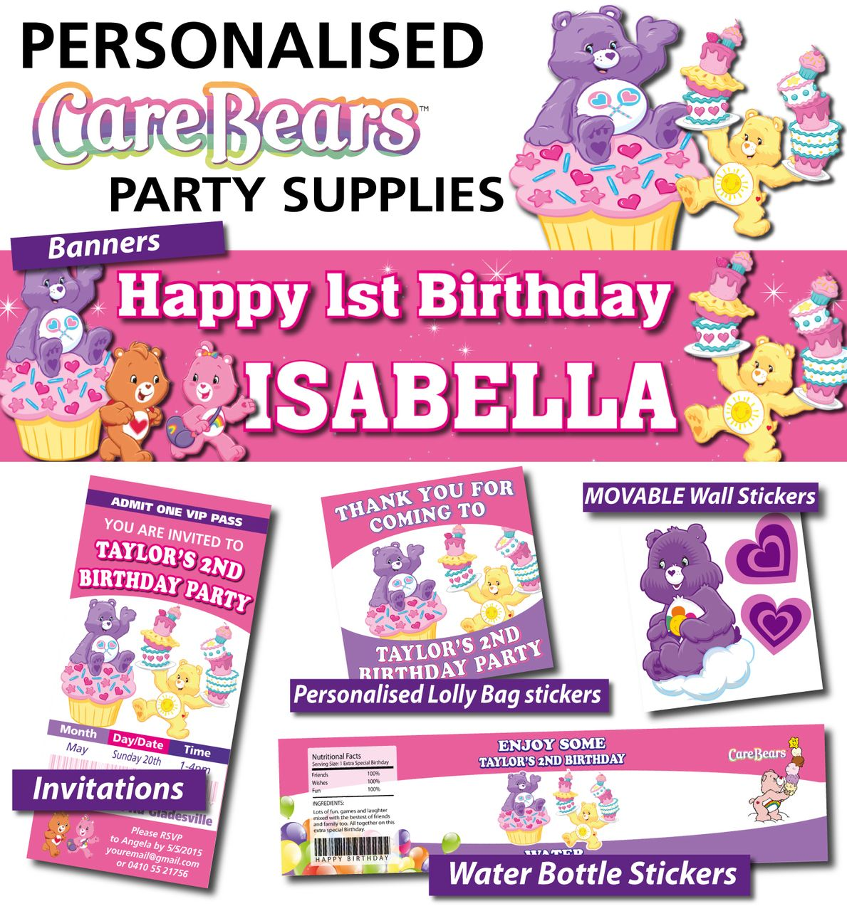 Personalised care bears birthday party banner decorations care personalised care bears birthday party banner decorations monicamarmolfo Choice Image