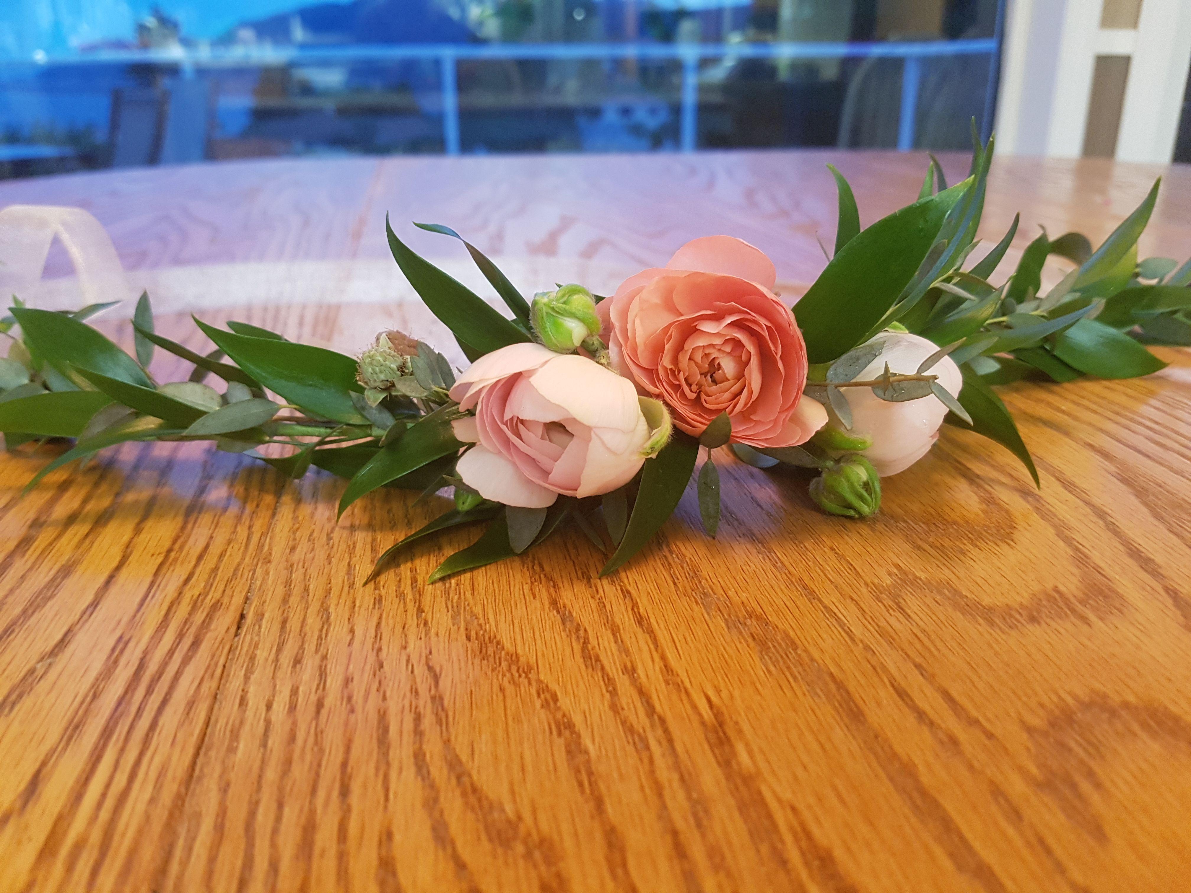 Delicate Flower Girl Crown Featuring Ranunculus And Italian Ruscus Gunny Eucalyptus