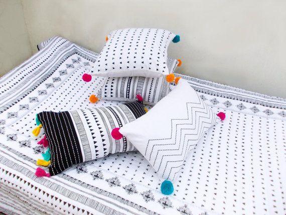 Aztec gesteppte Bettdecke, schwarz und weiß, Baumwolle Quilt, geometrische, Navajo Druck, böhmische, Stammes-, 100 % Baumwolle, 90 X 108 Zoll images