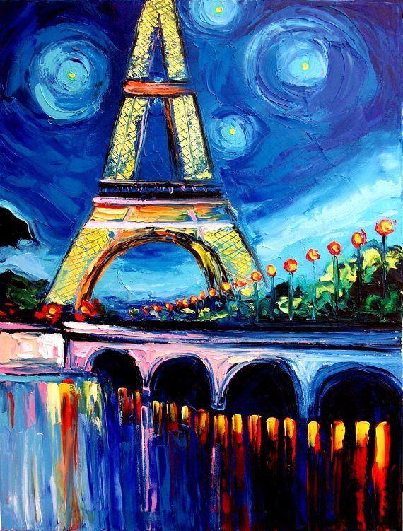 Eiffel tower painting Paris landscape original oil impasto ... Easy Acrylic Flower Paintings On Canvas