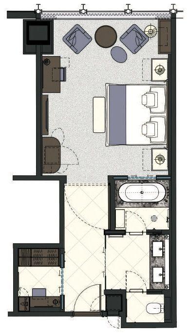 The Langham Chicago Deluxe Room 516 Sqft Hotel Room Design Plan Hotel Room Design Hotel Floor Plan